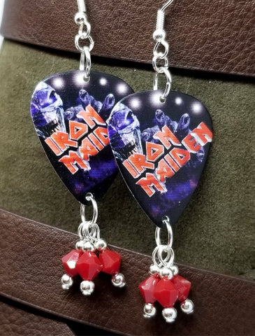Iron Maiden Guitar Pick Earrings with Red Swarovski Crystal Dangles