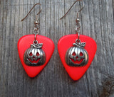 Jack O' Lantern Charm Guitar Pick Earrings - Pick Your Color