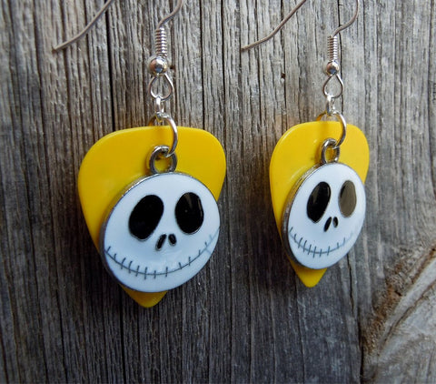 Jack Skellington of Nightmare Before Christmas Charm Guitar Pick Earrings - Pick Your Color