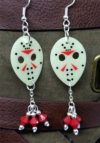 Friday the 13th Jason Guitar Pick Earrings with Red Crystal Dangles - GLOW IN THE DARK