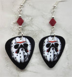 Jason Voorhees Hockey Mask Friday the 13th Guitar Pick Earrings with Red Swarovski Crystals