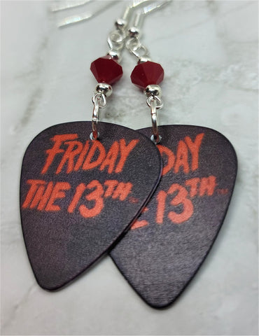 Friday the 13th Guitar Pick Earrings with Red Swarovski Crystals