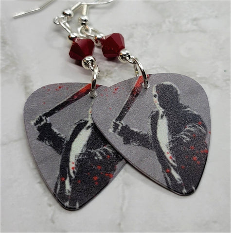 Jason Voorhees Friday the 13th Guitar Pick Earrings with Red Swarovski Crystals