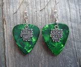 Jesus Loves You Charm Guitar Pick Earrings - Pick Your Color