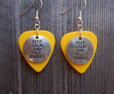 Keep Calm and Kill Zombies Charm Guitar Pick Earrings