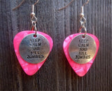 Keep Calm and Kill Zombies Charm Guitar Pick Earrings - Pick Your Color