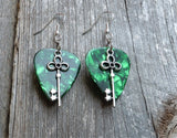 Key Charm Guitar Pick Earrings - Pick Your Color