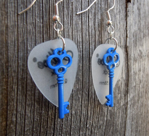 Blue Key Charm Guitar Pick Earrings - Pick Your Color