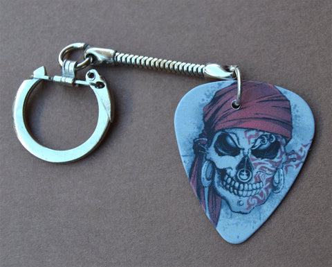Pirate or Tribal Skull Guitar Pick Keychain