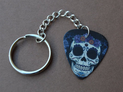 Sugar Skull with a Flower Crown Guitar Pick Keychain