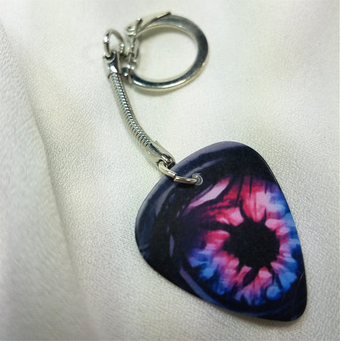 Pink and Purple Eye Guitar Pick Keychain