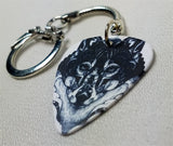 Black and White Wolf Guitar Pick Keychain