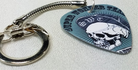 SWT Skeleton with Baseball Cap Guitar Pick Keychain