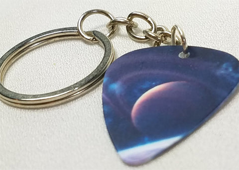Planet Guitar Pick Keychain