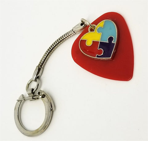 Autism Awareness Heart Charm on Red Guitar Pick Keychain