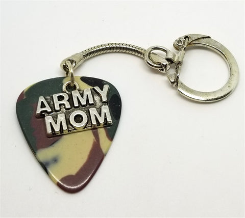 Army Mom Charm on Camo Guitar Pick Keychain