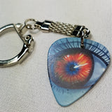 Orange and Blue Eye Guitar Pick Keychain
