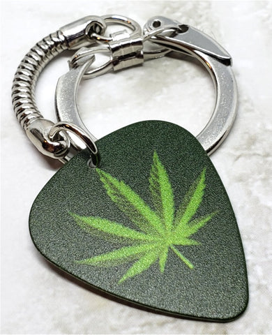 Marijuana Leaf Guitar Pick Keychain