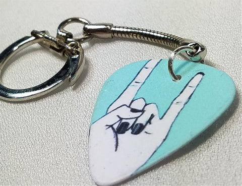 Sign Language Rock and Roll Rock On Guitar Pick Keychain