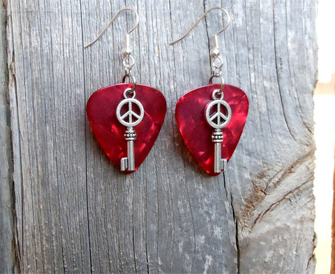 Peace Key Charm Guitar Pick Earrings - Pick Your Color
