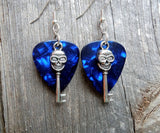 Skull Key Charm Guitar Pick Earrings - Pick Your Color