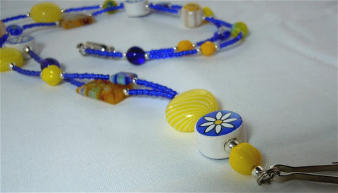 Cobalt Blue Seed Bead Lanyard with Glass and Ceramic Floral Theme Beads and Magnetic Safety Clasp