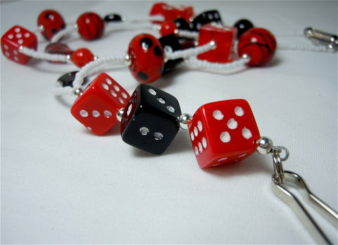 White Seed Bead Dice Themed Lanyard with Red and Black Glass Beads and Magnetic Safety Clasp