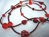 Red Seed Bead Lanyard with Red Glass Beads and Magnetic Safety Clasp