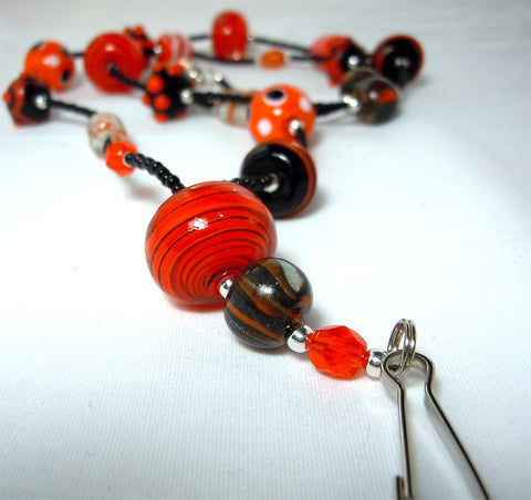 Orange and Black Beaded Lanyard with Orange and Black Beads and Magnetic Safety Clasp