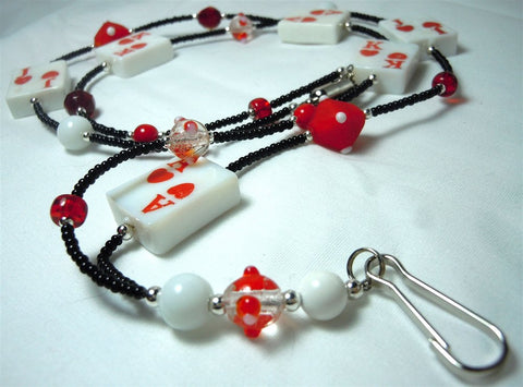 Black Seed Bead Card Themed Lanyard with Glass Beads and Magnetic Safety Clasp