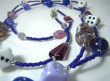 Blue Seed Bead Dice Themed Lanyard with Glass and Acrylic Beads and Magnetic Safety Clasp