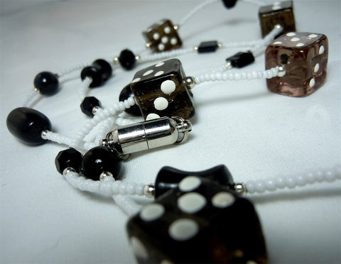 White Seed Bead Dice Themed Lanyard with Black Glass Beads and Magnetic Safety Clasp