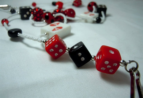 White Seed Bead Card and Dice Themed Lanyard with Glass Beads and Magnetic Safety Clasp