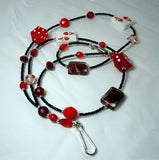 Black Seed Bead Card and Dice Themed Lanyard with Glass Beads and Magnetic Safety Clasp
