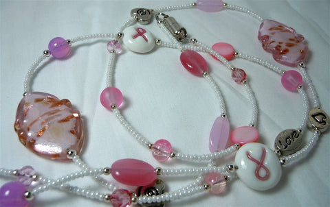 Pink Ribbon Glass Beaded Lanyard with Pink and White Glass Beads  and Magnetic Safety Clasp