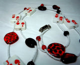 White Seed Bead Card Themed Lanyard with Red Glass Beads and Magnetic Safety Clasp