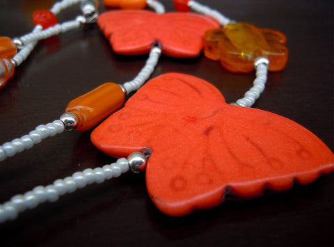 Orange Butterfly Lanyard with Orange and White Glass Beads and Magnetic Safety Clasp