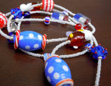 Patriotic Americana 4th of July Beaded Lanyard with Magnetic Safety Clasp