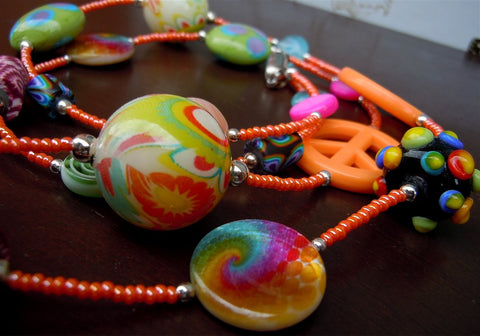 Funky Colorful Beaded Lanyard and Magnetic Safety Clasp
