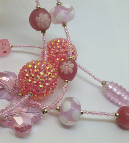 Pink Seed Bead Lanyard with Pink Glass Beads and Magnetic Safety Clasp, Lots of Bling