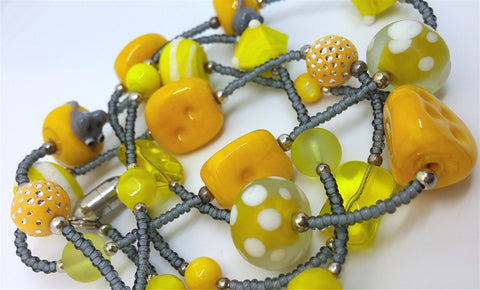 Mouse and Cheese Gray Seed Bead Lanyard with Yellow Glass Beads and Magnetic Safety Clasp