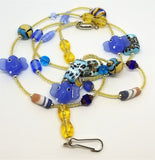 Tan Seed Bead Lanyard with Elephants and a Magnetic Safety Clasp