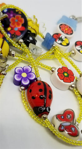 Yellow Seed Bead Lanyard with Bumblebee and Other Glass Garden Related Beads and Magnetic Safety Clasp