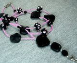Hot Pink Seed Bead Lanyard with Pink and Black Glass Beads and Magnetic Safety Clasp