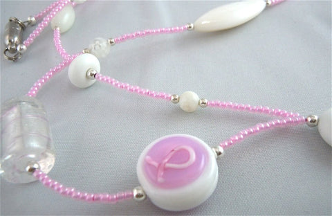 Pink Glass Seed Bead Lanyard with White Glass Beads and Magnetic Safety Clasp