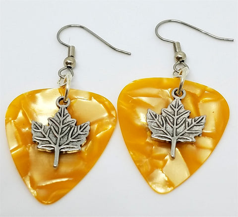 Maple Leaf Charm Guitar Pick Earrings - Pick Your Color