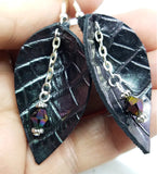 Purple Shimmer Leaf Shaped Leather Earrings with Swarovski Crystal Dangles