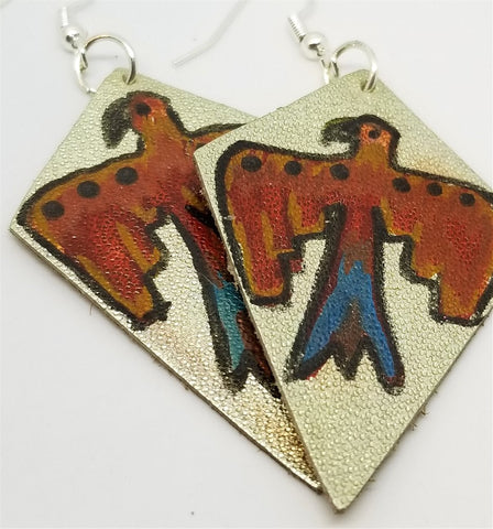 Silver Foil Real Leather Earrings with Hand Illustrated Thunderbird OOAK