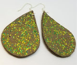 Green Glitter on Brown Teardrop Shaped Leather Earrings