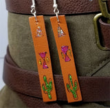 Hand Painted Southwestern Themed on Brown Real Leather Strip Earrings